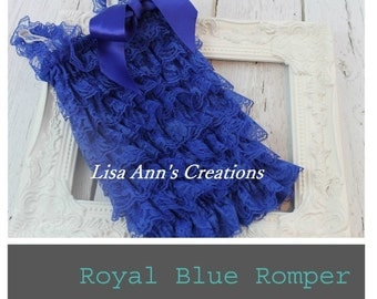 Petti Lace Ruffle Romper Royal Blue Sz small medium large xl for newborn - baby girl - photo prop
