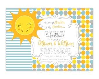 You Are My Sunshine Invitation - Yellow Orange Gray Blue Polka Dots, Sunshine Personalized Baby Shower Party Invite - Digital Printable File