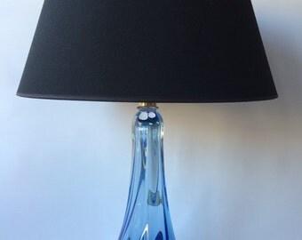 Original crystal table lamp, Val St. Lamber, amazing blue crystal