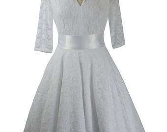 Baylis & Knight White Lace CIRCLE Low Cut Sweetheart Flared Wedding Dress 3/4 Sleeve Retro Princess Kate Middleton Ball Gown Vintage 50's