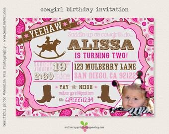 Pink Cowgirl Birthday Invitation