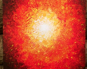 Signed Pre-Stretched Giclee PRINT On CANVAS of Original Hot Red Sun Textured Painting - Heat Of The Summer - Customer Chooses Size