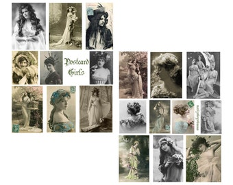 Post Card Girls Digital Collage Sheet