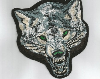 WOLF fabric PATCH Badge - iron or sew on your jeans,  jackets, caps