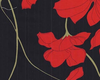 1 metre x 110 cm Large Bright RED FLOWER FABRIC Abstract  - 100% Cotton - Black Background - Quilting, Sewing, Dressmaking, Crafts, Design