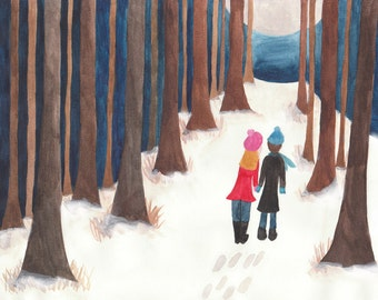 SALE - Walk in Winter - Archival Watercolour Art Print