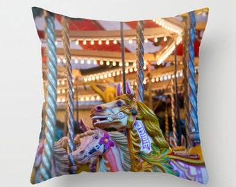 carousel pillow cover, fairground, horse pillow, horse home decor, equine decor, kids room, nursery