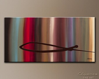 Modern Large Abstract Painting by CGUEDEZ. Original Wall Art. Red, Blue, Purple, Brown, Black. Calm and Clear. FREE SHIPPING!