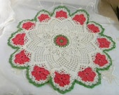 "Vintage Crocheted Pink Flowered, Cream and Green Doily, Table Topper, Cotton and Metallic Thread 17"" Across"