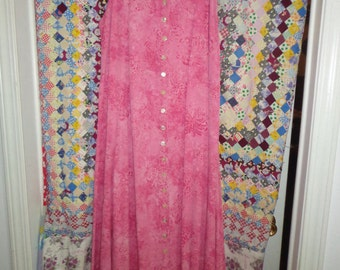 Vintage Pink Bohemian Peasant Maxi Long Dress Size XL For Vineyards In Martha's Vineyards