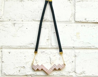 Black Rope Recycled Wood Necklace