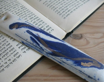 Ceramic Decorated Mezuzah with Blue and Gold Wave