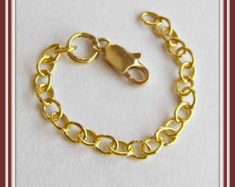 Extender Chain 2 To 10 inch Bracelet Chain, Connector chain,  silver plated, Gold plated, Antique  Brass, Copper, soldered link chain