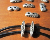 10pcs 2 hole spacer for 2mm cord, silver spacers, silver beads, jewelry spacers, bracelet spacers, sterling silver, bead inserts