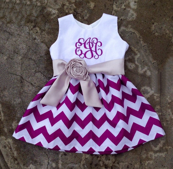 Baby girl clothes baby easter dress Purple Chevron toddler