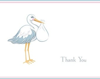 Stork with Twins Baby Shower Thank You Notes