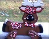 Cute peppermint reindeer shelf sitter handmade woodcraft, made to order
