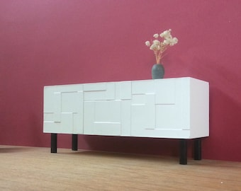 White Sideboard-Credenza 1/6 scale, Collectible Miniature Dollhouse Furniture,Modern Style, Contemporary Modern Design