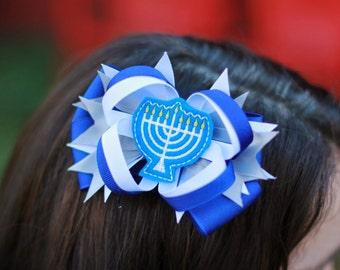 Hanukkah Hair Bow, Happy Hanukkah