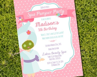 Spa Pamper Party Invitation for a Girl - Spa Party - Instant Download and Editable File - Personalize at home with Adobe Reader