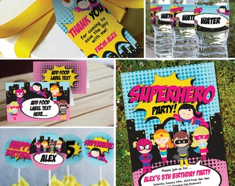 Girl Superhero Printable Party Set - Superhero Party -Instant Download and Editable File - Personalize and Print at home with Adobe Reader