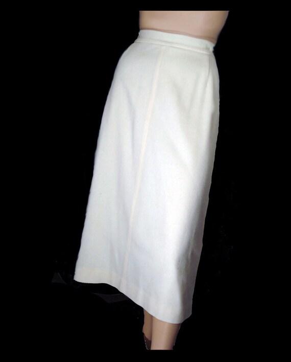 80s does 50s ivory wool pencil skirt 1980s skirt koret medium