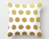 Painted Polka Dots Gold Throw Pillow - Geometric Pillow - Modern Decor - Throw Pillow - Urban Decor - by Beverly LeFevre