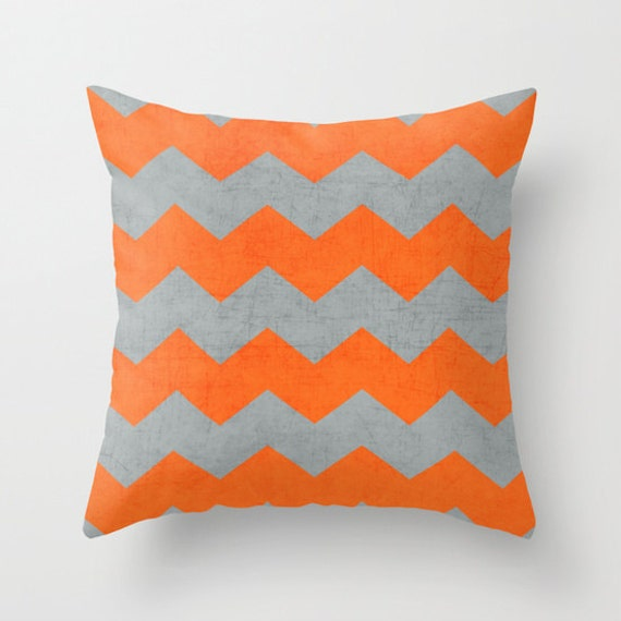 chevron gray and orange throw pillow by lushtartartproject. Black Bedroom Furniture Sets. Home Design Ideas