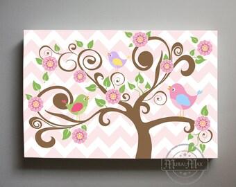 Hayley Nursery Birdies on Tree Canvas Wall Art, Large Panoramic Canvas Art Childrens Room Art, Match with Hayley Bedding