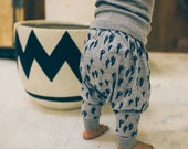 SLOUCH PANTS / Navy Cactus / Unisex / screen printed organic cotton