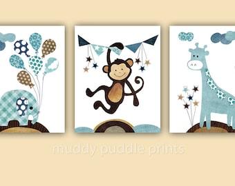 Nursery prints, nursery art, boys room art, kids room wall art, Monkey, Giraffe, Elephant, Set of 3 prints  - Carnival trio