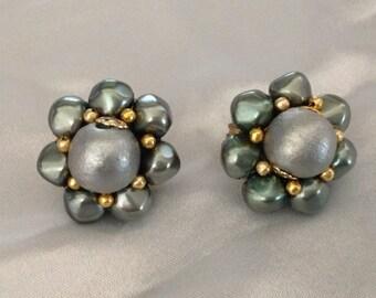 Vintage Japan Green Cluster Beaded Clip Earrings
