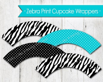 Zebra Print and Teal Cupcake Wrappers - Instant Download