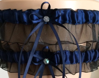 Wedding Garter Set, Bridal Garter Set, Navy Blue and Black Garter Set, Keepsake Garter,