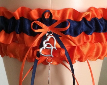 Orange and Navy Blue Garter Set, Wedding Garter, Prom Garter, Bridal Garters, Keepsake Garter, Bridal Accessories