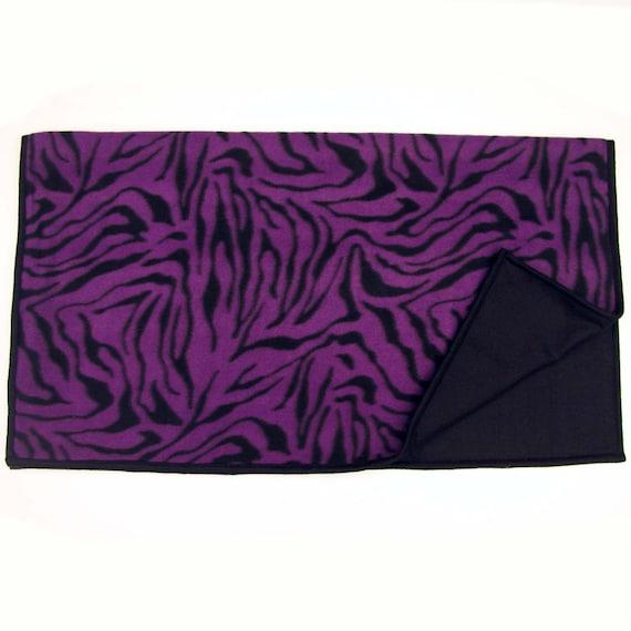 Spartan Fleece Saddle Cover Animal Print: Fleece WESTERN SADDLE BLANKET Purple Black Zebra Print By