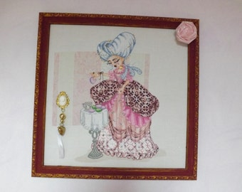 Marie-Antoinette - handmade in counted point, ribbons and beads embroidery