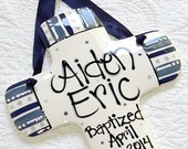 Personalized Baptism Cross for Boys in Blue and Navy