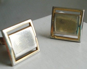 Square Swank Gold Tone and Silver Cufflinks