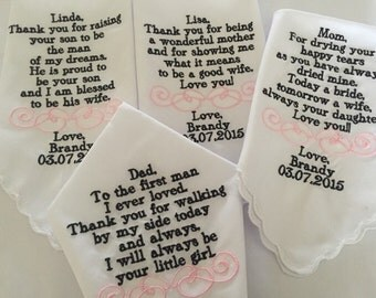 Embroiderd wedding handkerchiefs set of four custom made personalized