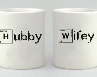 Breaking Bad Inspired, Hubby Wifey, Mr. Mrs., Mug Gift Set, Valentines, Wedding Gift, Coffee Mug Set, Coffee Cup, Couples Gift,  Mug, Mugs