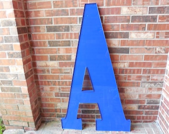"""GIANT Reclaimed Plastic Sign Capital Letter """"A"""", Blue, Wedding, Wall Decor, Industrial Salvage, Home Decor, Office Decor, Industrial Decor"""