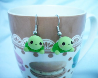 Baby turtle polymer clay earrings