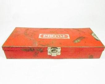 Vintage red tool box, metal box, Storage Box, Red tool box