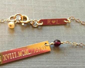 Personalized Mini Bar for Clasp Area - 14k Gold filled Customized Tiny Bar Tag with Personalization of Your Choice