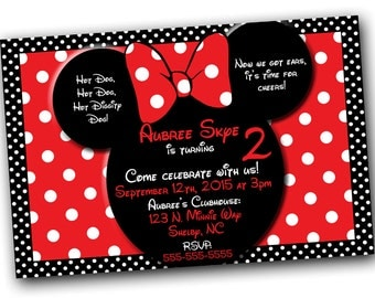 Minnie Mouse Invitation, Minnie Mouse Birthday, Red Minnie Mouse invitations, Minnie Mouse party, Minnie Mouse Thank you card