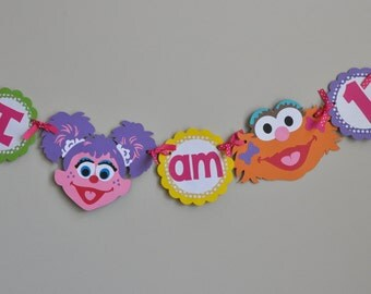 Girly Sesame Street High Chair Banner I am 1
