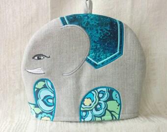 Ramona- an Embroidered Tweed Elephant Tea Cosy