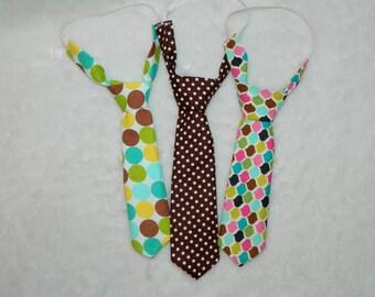 Brown and White Polka Dot Adjustable Infant/Toddler Neck Tie