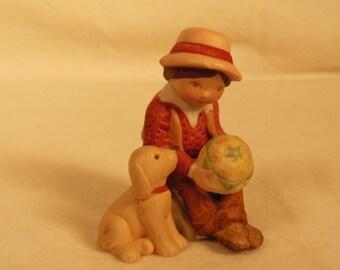 Vintage Holly Hobbie-Ceramic Figurine-Robbie Hobbie-Sitting With His Dog